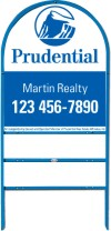 real estate blue arc sign frame for two rider inserts and panel unit, .150 polyethylene 30x24