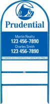 real estate blue arc sign frame for two rider inserts and agent panel unit, .150 polyethylene 30x24