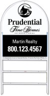 real estate fine homes white arc frame for two rider inserts and sign panel unit, .150 polyethylene 30x24