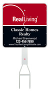 real estate Footbar stake and enhanced logo agent sign panel unit, .050 polyethylene 24x24