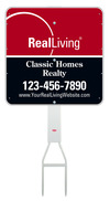 real estate Footbar stake and enhanced logo sign panel unit, .050 polyethylene 24x24