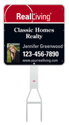 real estate Footbar stake and enhanced logo photo sign panel unit, .050 polyethylene 24x24