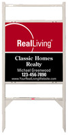 real estate angle iron sign frame and enhanced logo panel unit with two rider inserts, 24 GA steel 24x24