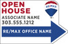 Directional OPEN HOUSE Cut to Shape Sign Panel, Corrugated 4mm, 14.25x22