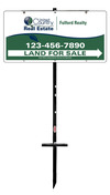 real estate land for sale sign panel and t-stake unit, 24 GA steel 12x24