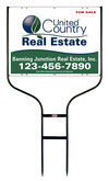 real estate black round rod sign frame and sign panel unit, 24 GA steel 18x24