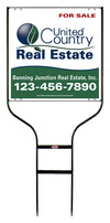 real estate black round rod sign frame and panel unit, 24 GA steel 20x20
