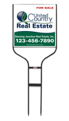 real estate black round rod sign frame and panel unit, extra long 24 GA steel 20x20