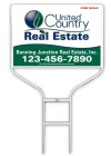 real estate white round rod sign frame and panel unit, 24 GA steel 20x28