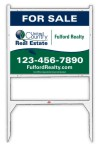 real estate white angle iron sign frame and panel unit, 24 GA steel 24x30