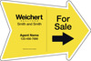 Agent For Sale Arrow Shape Sign Panel, 18x24, 4mm