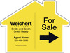 Agent For Sale House Shape Sign Panel, 18x24, 4mm