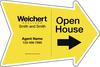 Agent Open House Arrow Shape Sign Panel, 18x24, 4mm