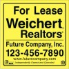Commercial Real Estate for lease Sign Panel printed on one side, 10mm Corrugated Plastic 48x48